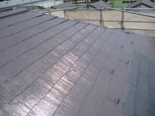 屋根上塗り途中経過